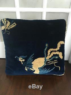 Rare Antique 19ème Siècle Grand Art Déco Tapis Chinois Pictorial Coussin Bleu