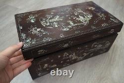 Rare Antique Grande Vietnamienne Chinoise Mère De Perle Inlay Paysage De Boîte En Bois