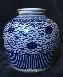 Rare Début Du 19ème Siècle Antique Chinois Bleu Blanc Grand Pot De Gingembre En Porcelaine