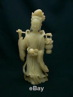 Rare Et Beau Grand Antique Chinois Shou-shan Quan Sculpture-yin