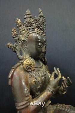 Rare Grand Ancien Chinois Tibétain Bronze Bouddha Assis Statue