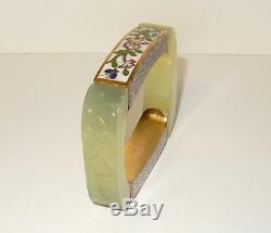 Rare Grand Blanc 15mm Céladon Sculpté Jade Et Cloisonnée Bracelet