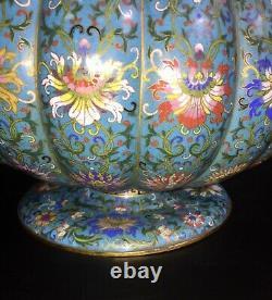 Rare! Grand Bol De Vase De Cloisonne De 16 De Cheng Marque Période Qing/république Tardive
