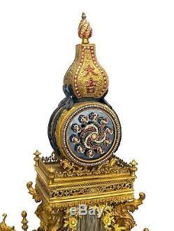 Rare Grand Bronze Chinois Ormolu Pâte Jeweled Automaton Musicale Support Horloge