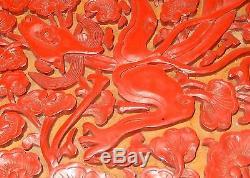 Rare Grand Coffret En Laque Dragonne De Feu Sculpté De Cinabre Signé De Fabricant