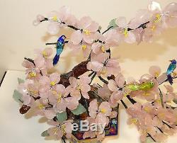 Rare Grand Émail Cloisonné Rose Quartz Jade Pierre Blossom Arbre Aux Oiseaux