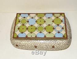 Rare Grand Fabienne Jouvin Cloisonnée Art Déco Design Émail Bowl Humidor Boîte Jar