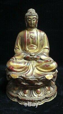 Rare Grand Lourd Vieux Chinois En Bronze Doré Shakyamuni Bouddha Statue Sculpture