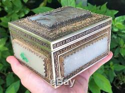 Rare Grand Magnifique Antique Chinois Argent Jade / Hardstone Boîte / Thé Caddy