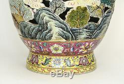 Rare Grand Sculpté Ajourées Rotating Fencai Paysage Vase En Porcelaine Chinoise