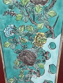 Rare Grand Vase Antique Chinois Vert Fond Famille Verte Square