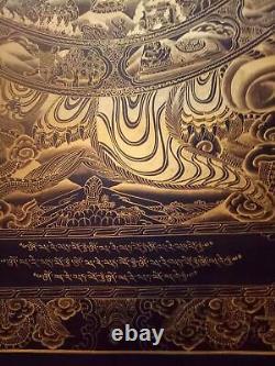 Rare Grand Véritable Maîtrepièce Roue Tibétaine De La Vie Que La Peinture Bouddha