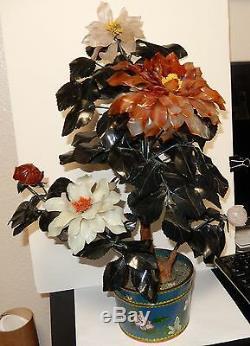 Rare Grand Vintage Fleur Émaillée Cloisonné Émail Jade 20 Haut Arbre