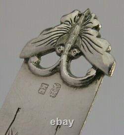 Rare Grande Exportation Chinoise Silver Butterfly & Bat Signets Antique C1890 Kl