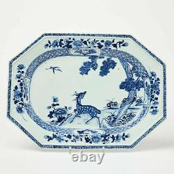 Rare Qianlong Chinois Grand Bleu Et Blanc Superbe Plat De Jeu De Qualité