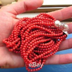 Rare Rouge Foncé Sardaigne Italie Corail Collier Grande Perles Ronde 19ème C. Boule 4 MM