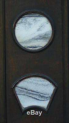 Set De 4 Antique Chinese Grande Plaque De Mur Avec Les 4 Inserts En Marbre