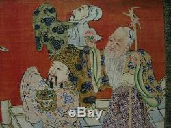 Set Of 4 Extra Large Antique Panneaux Chinois En Soie Kesi / Étage Écran, 90 X 22each