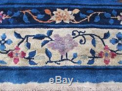 Shabby Chic Antique Hand Made Art Déco Chinois Bleu Laine Grande 325x246cm Tapis