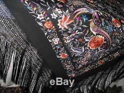 Soie Chinoise Edwardian Vintage Broderie Châle Grand Exceptionnelle