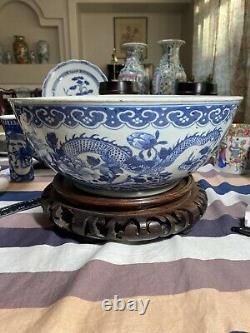 Superbe 14 Grands Bols Chinois Antiques Daoguang Bleu Et Blanc