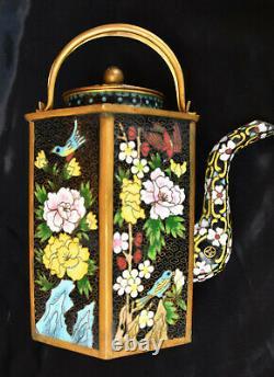 Superbe Antique Enamel Cloisonne Chinese Grande Théière Bird & Flowers Design