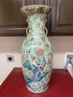 Superbe Céladon Chinois Antique Famille Rose Grand Vase