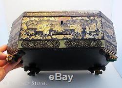 Superbe Grand 19ème Siècle Antique Chinois D'exportation En Bois Laqué Caddy Poitrine / Box