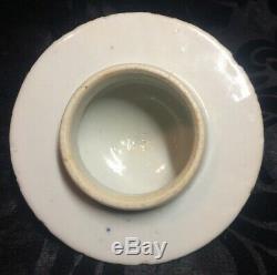 Superbe Grand Antique Bleu Porcelaine Chinoise Et Pot De Vase Blanc Avec Couvercle Marqué