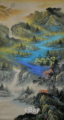Superbe Grand Paysage D'aquarelle Chinoise Hanging Rouleau De Peinture Zhang Daqian
