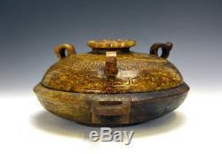 Superbe Rare Grand Récipient De Nourriture Chinois Jade Sculpté Par Han Oriental