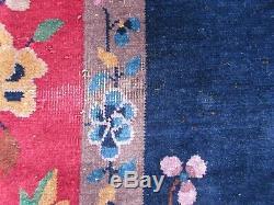 Tapis 350x277cm En Laine Rouge Et Bleu Antique Fait À La Main, Fabriqué À La Main