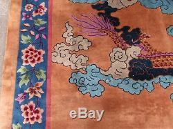 Tapis Chinois Artisanal Artisanal En Laine Brun Bleu Grand Tapis 440x360cm