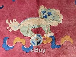 Tapis Chinois Artisanal Artisanal En Laine Rose Foncé Grand Tapis 355x273cm