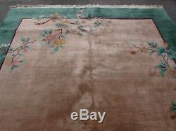 Tapis Chinois Artisanal Artisanal En Laine Verte Grand Tapis 365x268cm