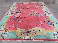 Tapis Chinois Artisanal En Laine Cerise Rouge Grand Tapis 350x270cm