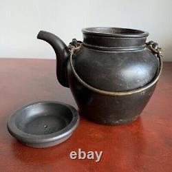 Théière Chinoise Antique Grande Yixing Noire, Atelier De Yufeng Qing