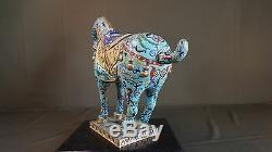 Très Beau Grand Chinois Début 1900, Fin Dynastie Qing, Cheval Cloisonné