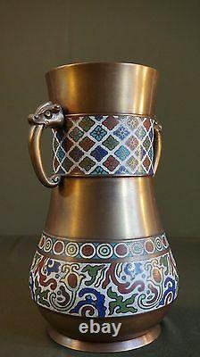 Très Fine Grand Début 1900 Vase Chinois Cloisonne Avec Poignées De Figure