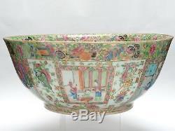 Tres Grand Antique 19c. Qing Porcelaine Rose Mandarin Qing Porcelaine 15.5