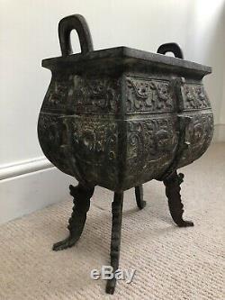 Très Grand Antique Bronze Chinois Encensoir, Encensoir