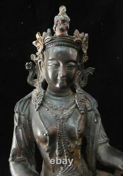 Très Grand Bronze Chinois Antique Guanyin Buddha Statue Marquée De La Période De Yongle
