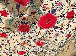 Très Grand Châle Ou Couvre-lit De Piano Chinois Antique