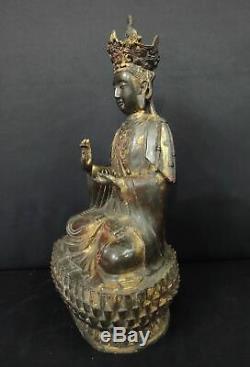 Très Grand Old Bronze Guanyin Statue De Bouddha Chinois Bonne Qualité