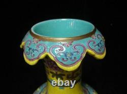 Très Grand Vase Chinois Antique Peint À La Main En Porcelaine Marqué Qianlong