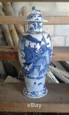 Très Grand Vase En Porcelaine Bleu Et Blanc Chinois Antique Marque Kangxi Antique