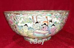Très Grand Vintage Chinois Bol En Porcelaine Famille Rose Table Center Oriental