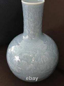 Très Grande Antique Chinoise Bleu Glaçure Vase En Porcelaine Qianlong Perid Marks