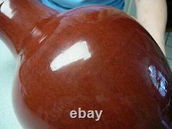 Très Grande Porcelaine Chinoise Sang De Boeuf Vase De Sang 19ème C 17.4 Haut