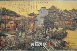 Très Long Grand Beau Paysage Peint À La Main Et Chinois Scroll Ville Marques